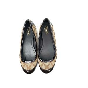 Coach Brown True Signature Patent Leather Flats  6